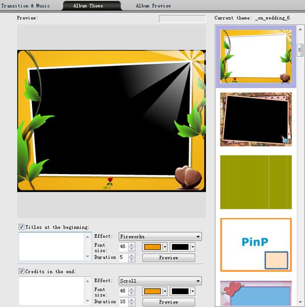 how to create photo slideshow with album theme template