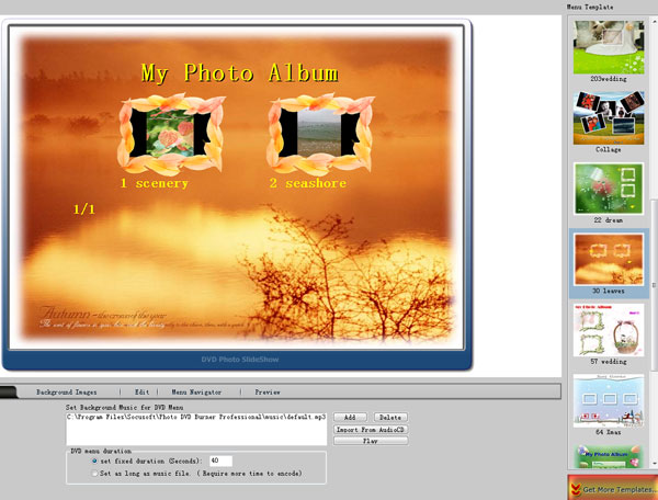 Create slideshow with DVD menu