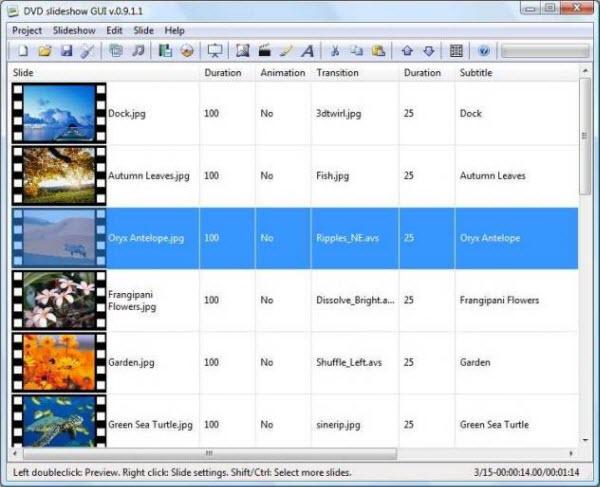 Free Slideshow Software - DVD Slideshow GUI