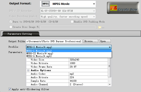 Convert Photos to MPG