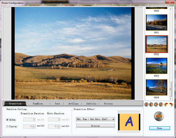 create photo slideshow with transition