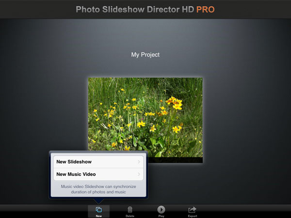 create new slideshow project